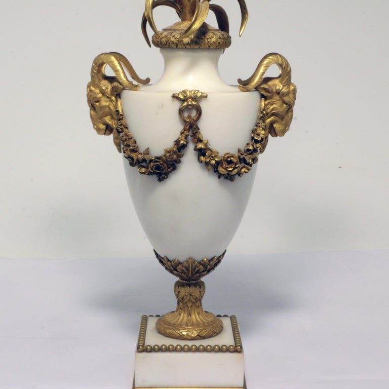Pair of Louis XVI Style Marble and Gilt Bronze Candelabra For Sale 2