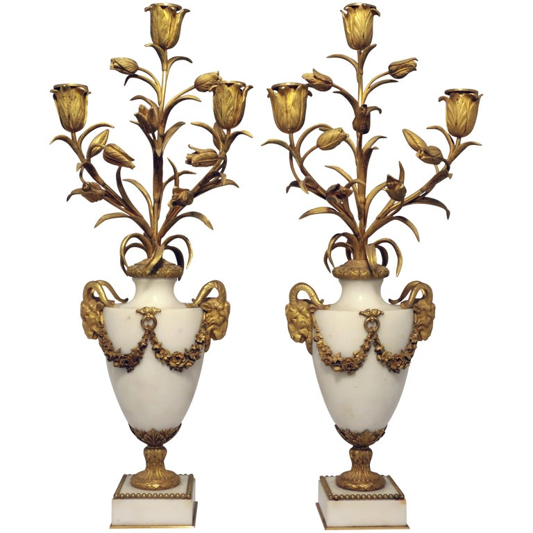 Pair of Louis XVI Style Marble and Gilt Bronze Candelabra For Sale