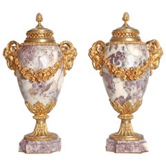 Pair of Louis XVI Style Marble Cassolettes with Gilt Bronze Mounts