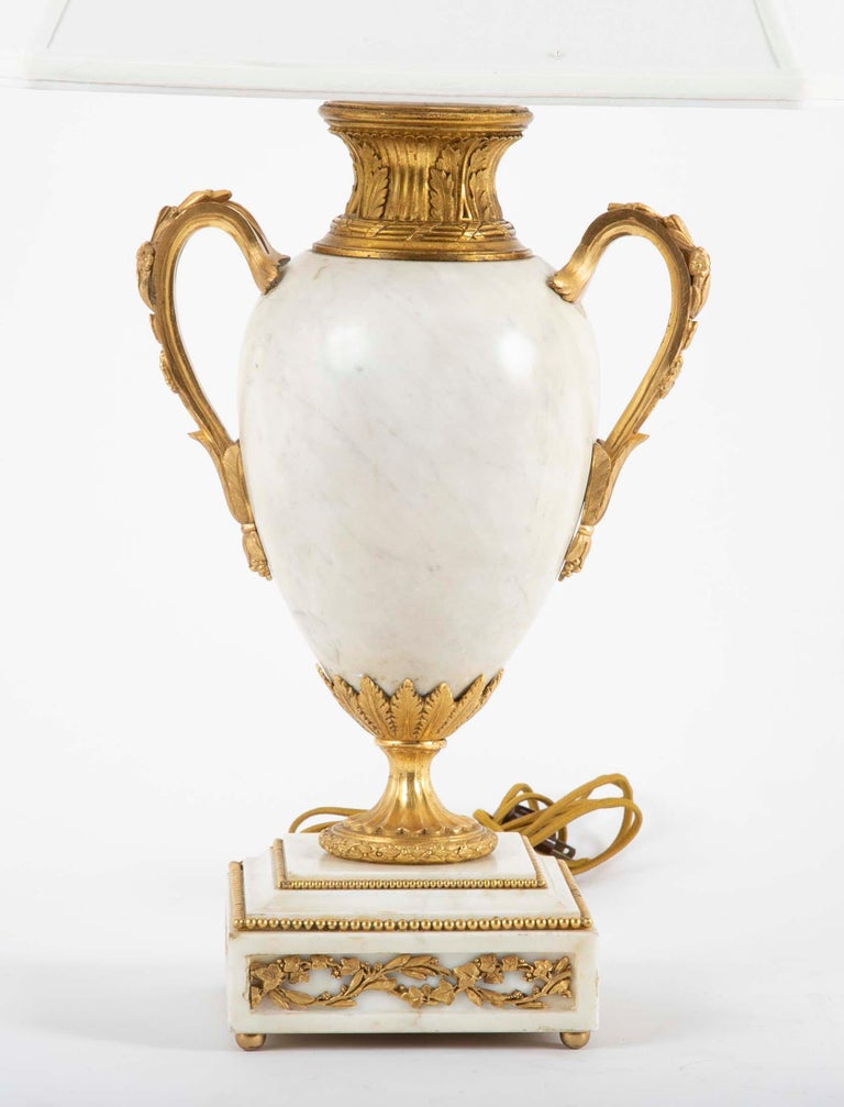 French Pair of Louis XVI Style Marble Lamps For Sale