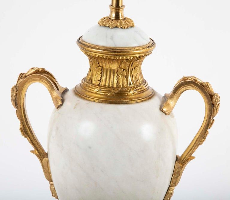 19th Century Pair of Louis XVI Style Marble Lamps For Sale
