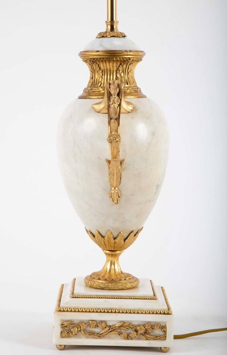 Bronze Pair of Louis XVI Style Marble Lamps For Sale