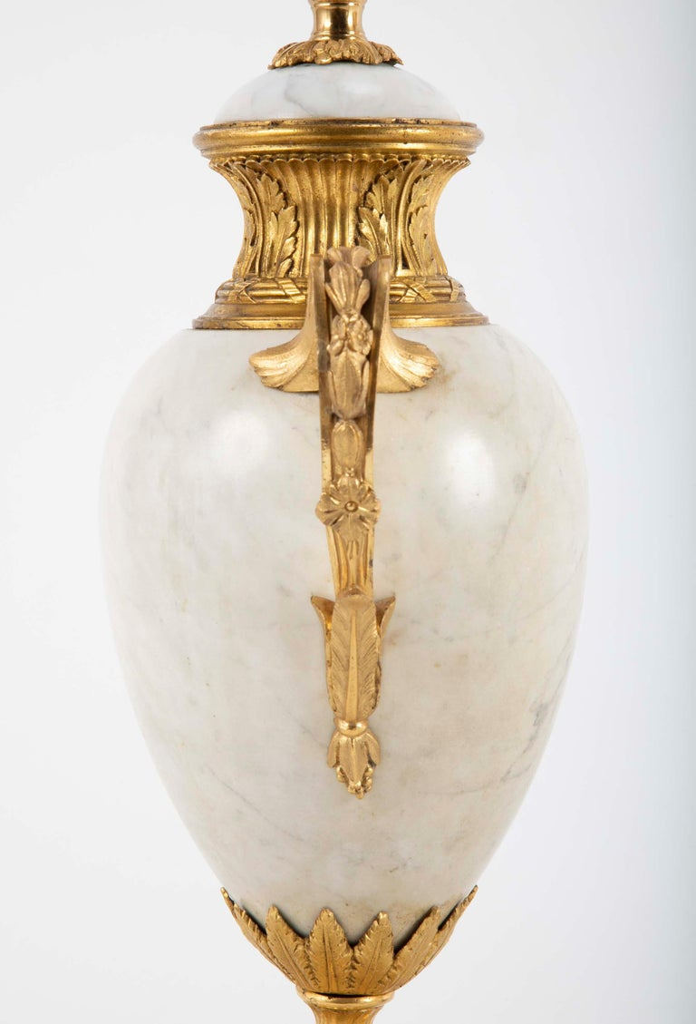 Pair of Louis XVI Style Marble Lamps For Sale 1