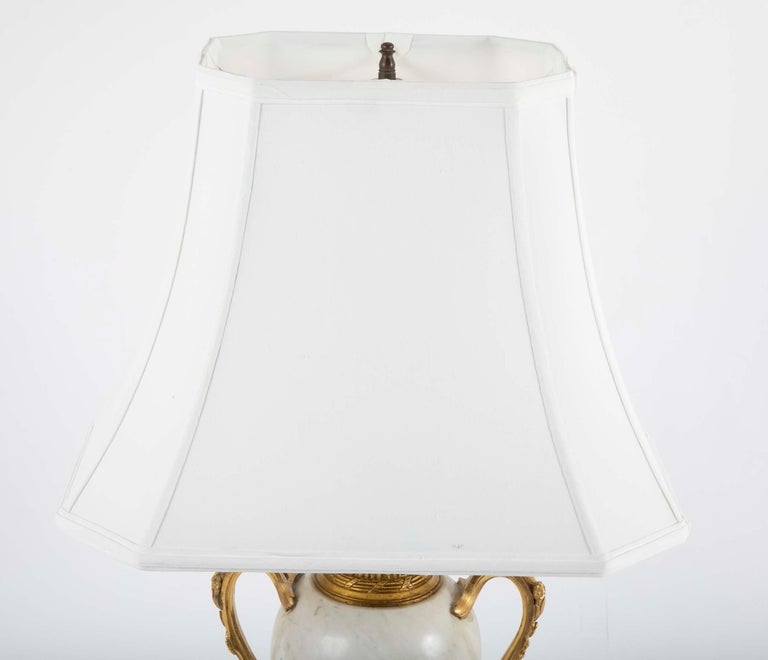 Pair of Louis XVI Style Marble Lamps For Sale 3