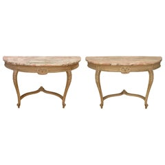 Pair of Louis XVI Style Marble-Top Demilune Consoles