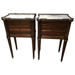 Pair of Louis XVI Style Marble-Top Mahogany Nightstands, Three Drawers Gilt Trim
