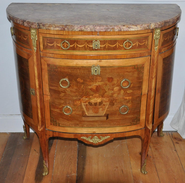 19th Century Pair of Louis XVI Style Marble-Top Marquetry Inlaid Commodes For Sale