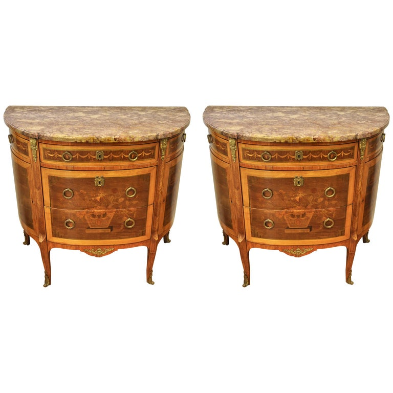 Pair of Louis XVI Style Marble-Top Marquetry Inlaid Commodes For Sale
