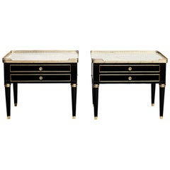 Pair of Louis XVI Style Marble-Topped Nightstands or Side Tables