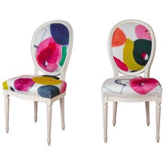 Pair of Louis XVI Style Medallion Chairs, with Contemporary Fabric