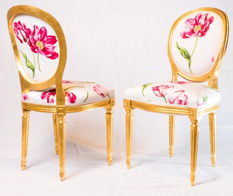 19th Century Pair of Louis XVI Style Medallion Chairs, with Red Flower Pattern For Sale