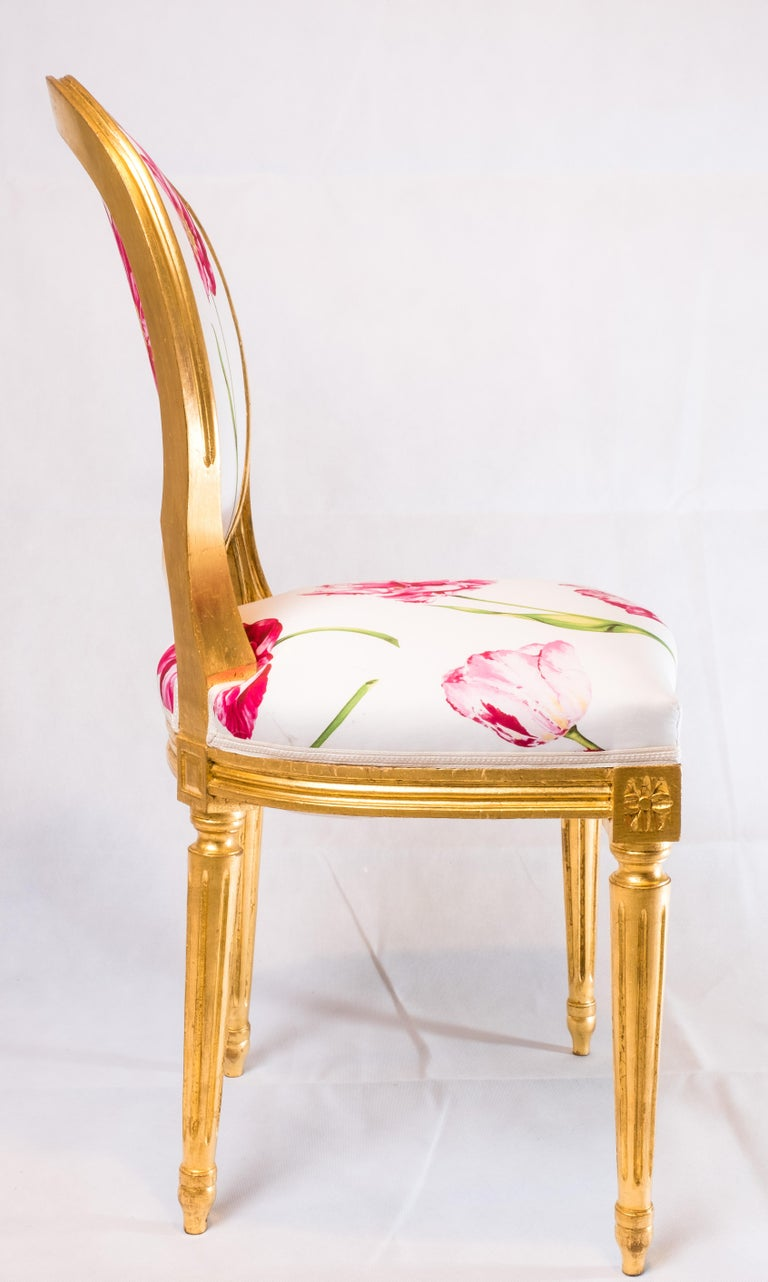 Pair of Louis XVI Style Medallion Chairs, with Red Flower Pattern For Sale 1