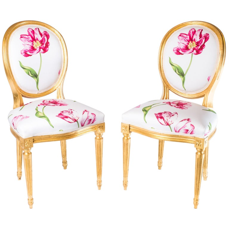 Pair of Louis XVI Style Medallion Chairs, with Red Flower Pattern For Sale