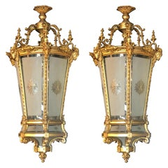 Pair of Louis XVI Style Monumental Dore Bronze Rams Head Etched Glass Lanterns