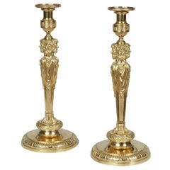 Pair of Louis XVI Style Ormolu Candlesticks in the Manner of Pierre Gouthière