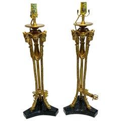 Pair of Louis XVI Style Ormolu & Marble Ram Motif Lamps