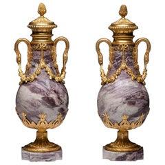 Pair of Louis XVI Style Ormolu Vases