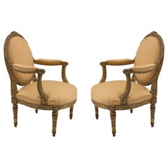 Pair of Louis XVI-Style Oval Back Armchairs