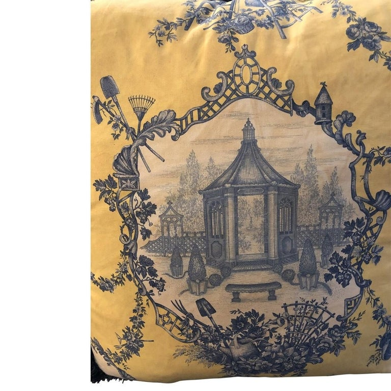 French Pair of Louis XVI Style Oversized Toile Pillows, 21st Century For Sale