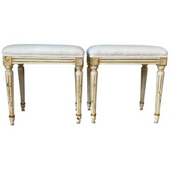 Pair of Louis XVI Style Painted Benches/Stools