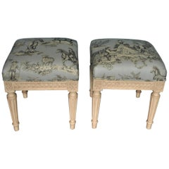 Pair of Louis XVI Style Painted Benches Upholstered in a Hand Print Toile Fabric