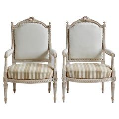 Pair of Louis XVI Style Painted Bergère Armchairs