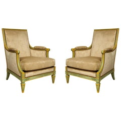 Pair of Louis XVI Style Painted Bergères Attributed to Maison Jansen
