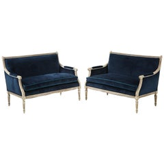 Pair of Louis XVI Style Painted Navy Velvet Settees