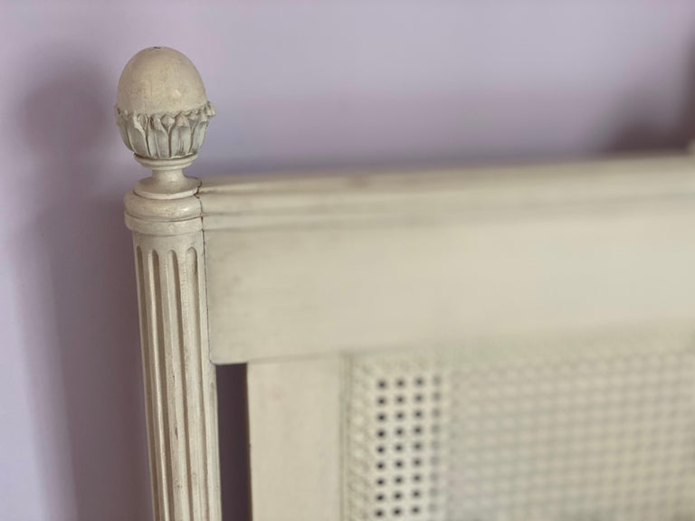 Pair of Louis XVI Style Painted Twin Bed Frames For Sale 10