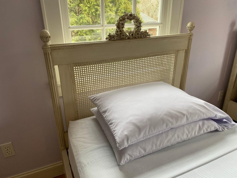 American Pair of Louis XVI Style Painted Twin Bed Frames For Sale