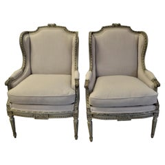 Pair of Louis XVI Style Painted Wing Chair, Original Frame, Newly Upholstered