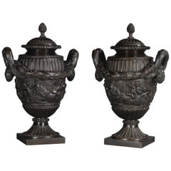 Pair of Louis XVI Style Patinated Bronze Urns and Covers, circa 1900