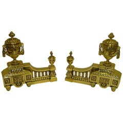 Pair of Louis XVI Style Polished Brass Chenets or Andirons, 19th Century