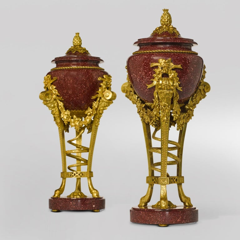 French Pair of Louis XVI Style Porphyry Urns, after Pierre Gouthière For Sale