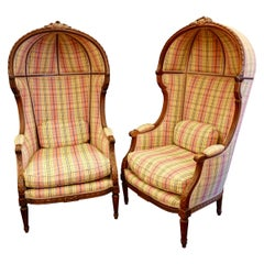 Pair of Louis XVI Style Porter's Chairs in Carved Walnut