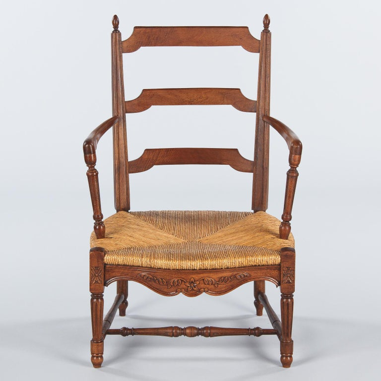 Pair of Louis XVI Style Provencal Rush Seat Armchairs, 1940s For Sale 6