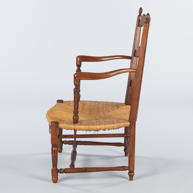 Pair of Louis XVI Style Provencal Rush Seat Armchairs, 1940s For Sale 7