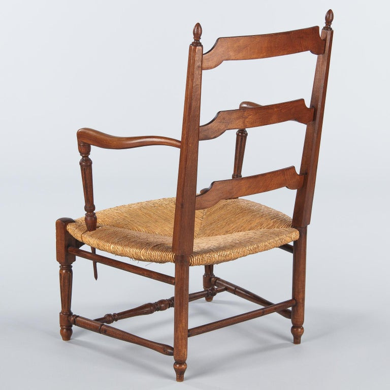 Pair of Louis XVI Style Provencal Rush Seat Armchairs, 1940s For Sale 8