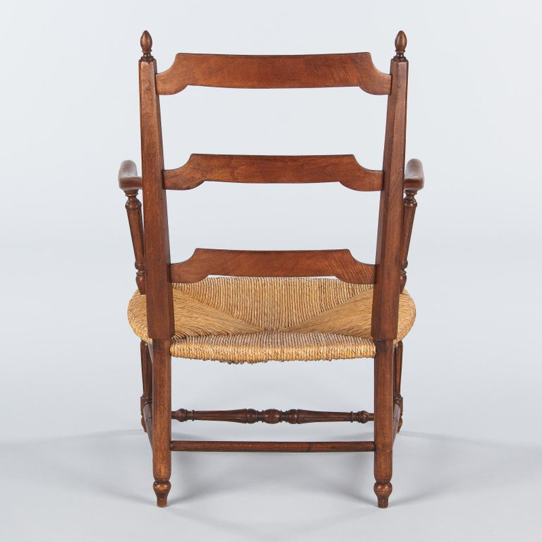 Pair of Louis XVI Style Provencal Rush Seat Armchairs, 1940s For Sale 9
