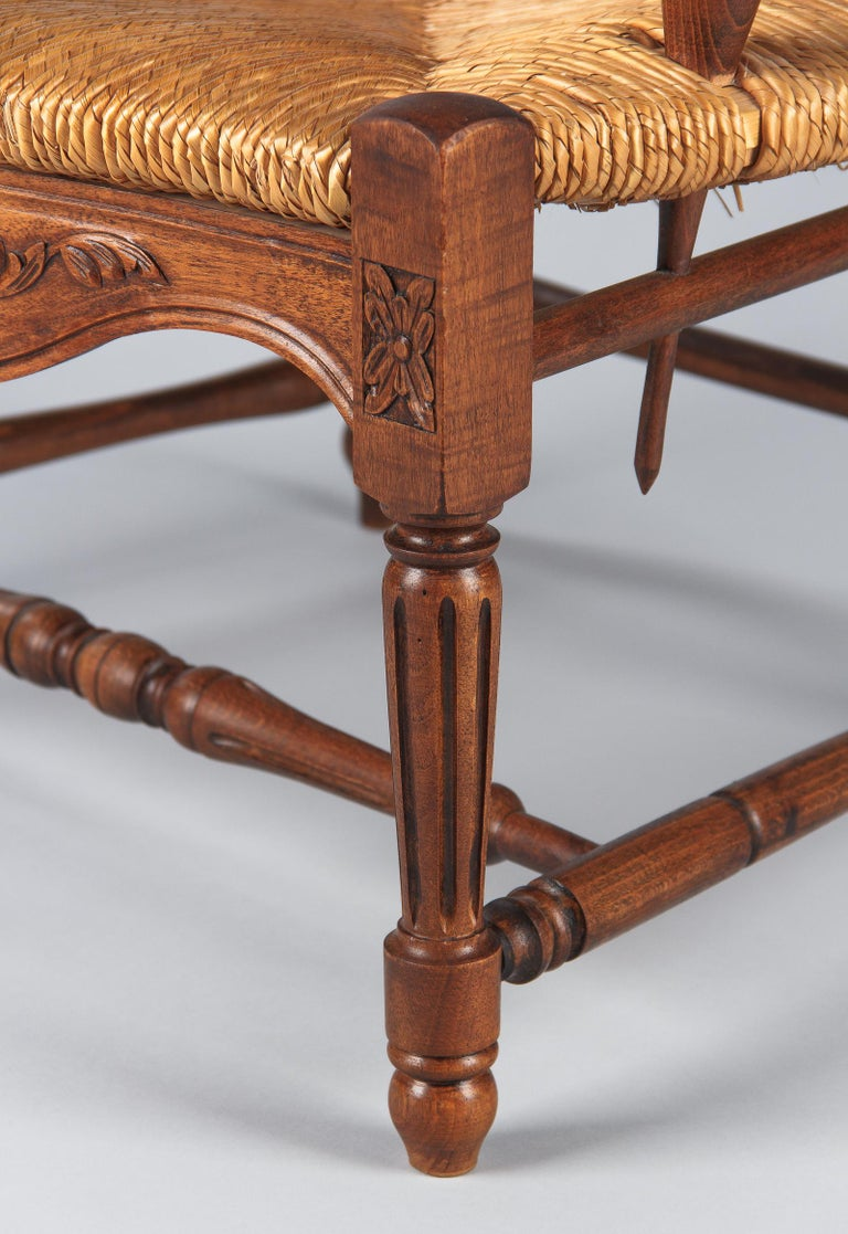 Pair of Louis XVI Style Provencal Rush Seat Armchairs, 1940s For Sale 12