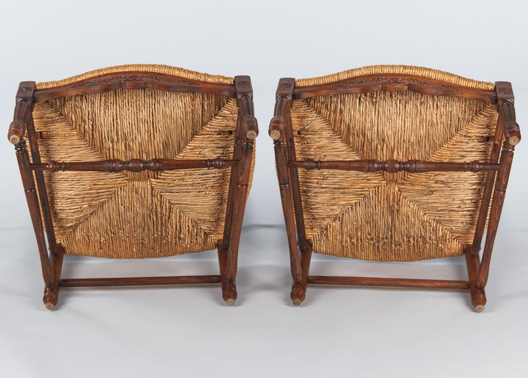Pair of Louis XVI Style Provencal Rush Seat Armchairs, 1940s For Sale 13