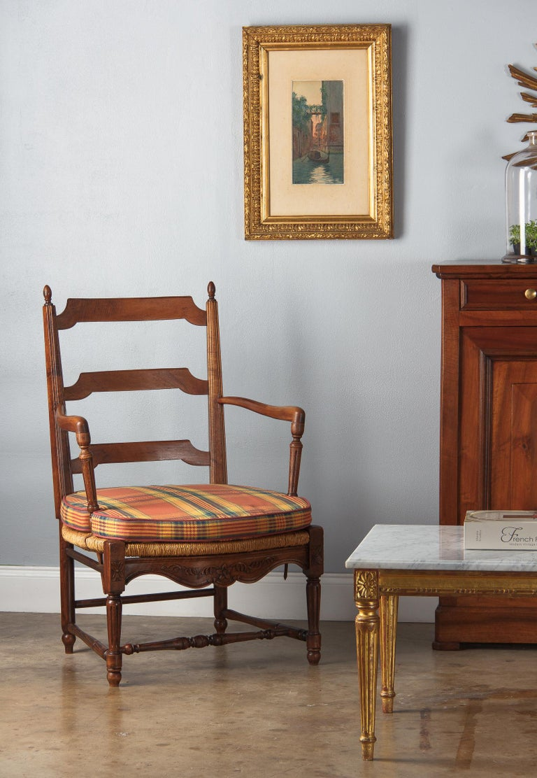 Pair of Louis XVI Style Provencal Rush Seat Armchairs, 1940s For Sale 14