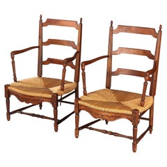 Pair of Louis XVI Style Provencal Rush Seat Armchairs, France, 1940s