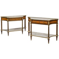 Pair of Louis XVI Style Satinwood and Mahogany Console Dessertes, circa 1850