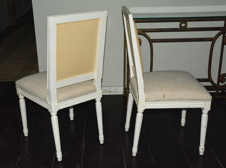 Painted Pair of Louis XVI Style Side Chairs For Sale