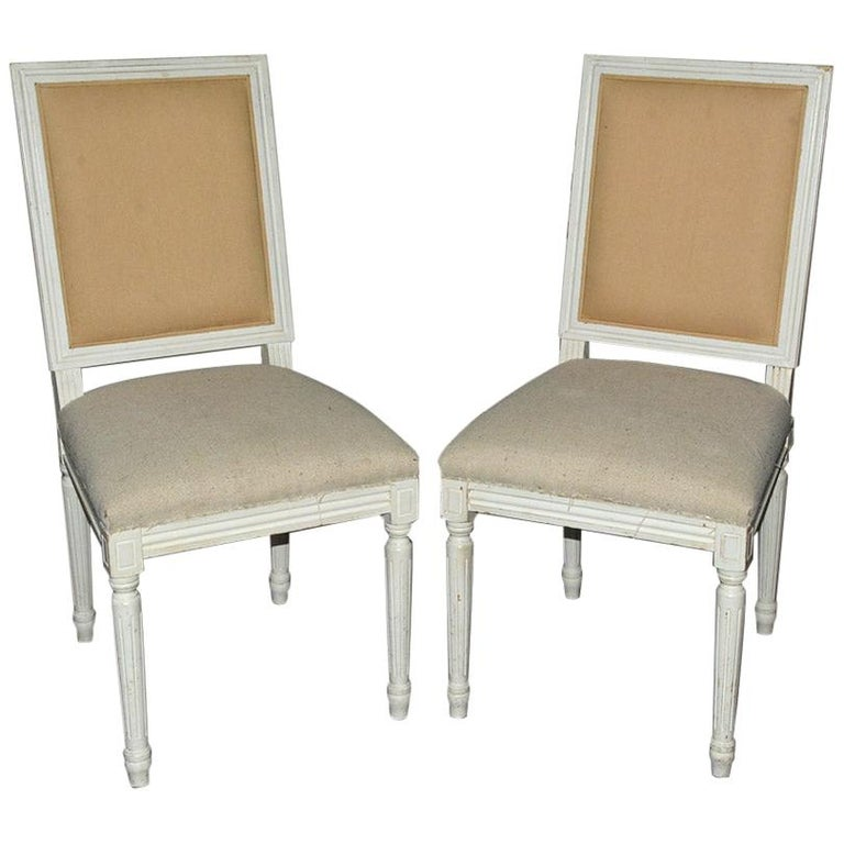 Pair of Louis XVI Style Side Chairs For Sale