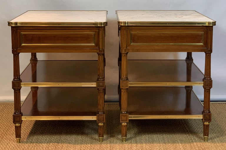 American Pair of Louis XVI Style Side Tables For Sale