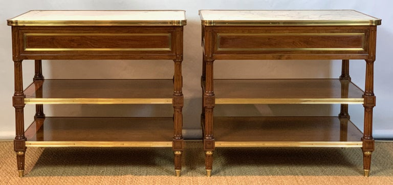 Hand-Crafted Pair of Louis XVI Style Side Tables For Sale