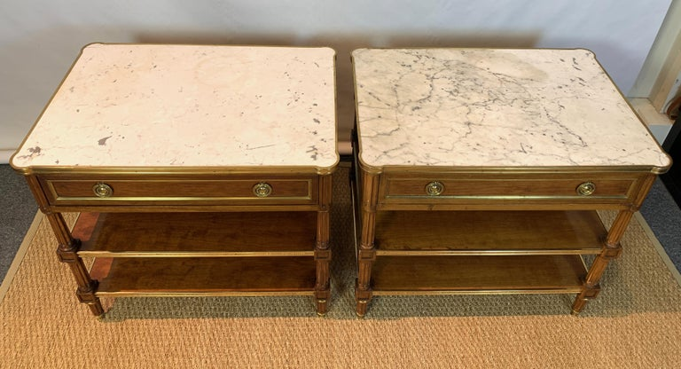Pair of Louis XVI Style Side Tables In Good Condition For Sale In Kilmarnock, VA