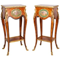Pair of Louis XVI Style Side Tables with Porcelain Plaques, circa 1890